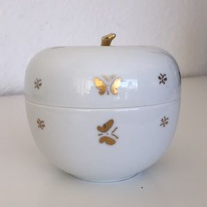 Vintage Ceramic Apple Trinket Box With Lid
